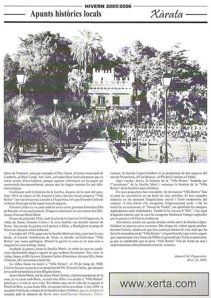 Hotel Villa Retiro apunts històrics local Xerta