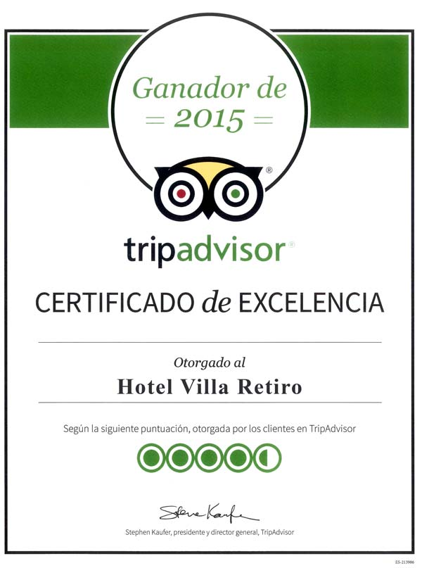 Hotel Villa Retiro certificado de excelencia Tripadvisor