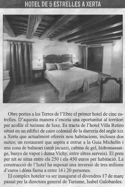 Hotel Villa Retiro de 5 estrelles a Xerta