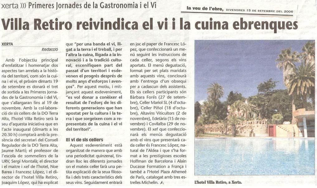 Hotel Villa Retiro reivindica la cuina i el vi ebrencs