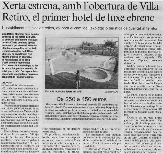 Xerta estrena amb l'obertura de Villa Retiro el primer hotel de luxe ebrenc
