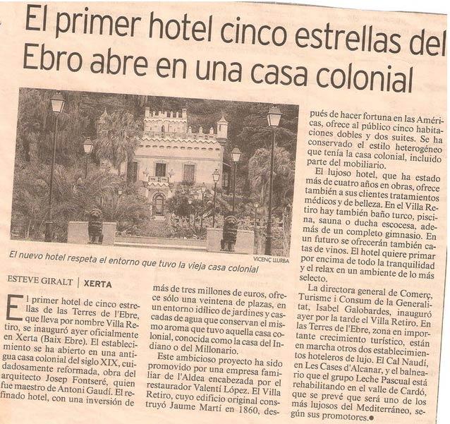 el primer hotel de cinco estrellas del Ebro abre en una casa colonial