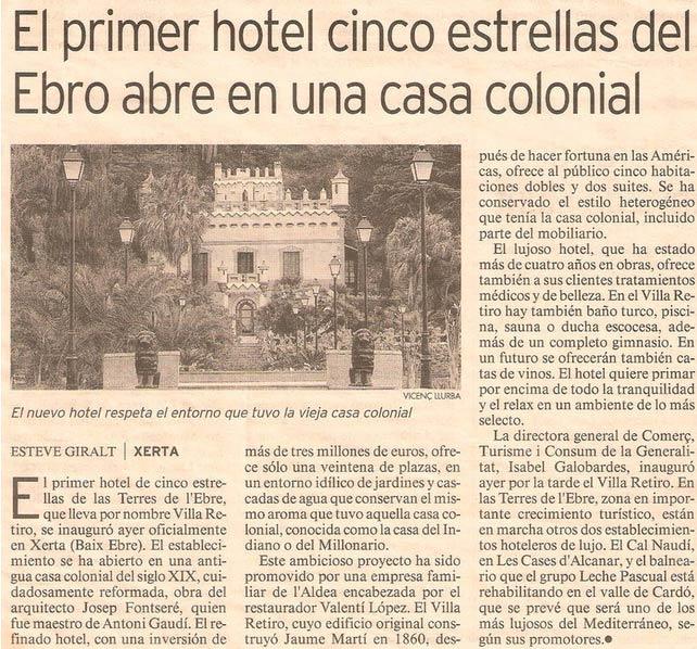 hotel villa retiro cinco estrellas en el ebro abre en una casa colonial