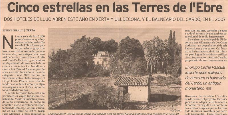 hotel villa retiro cinco estrellas terres de l'Ebre lujo.