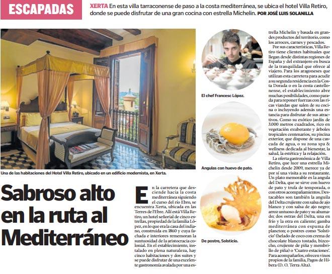 hotel villa retiro escapada mediterraneo ebro