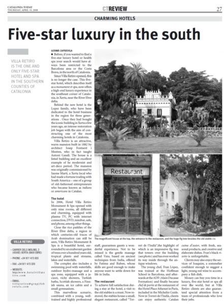 hotel villa retiro five star luxury in the south catalonia terres ebre Xerta