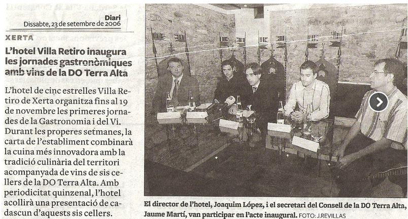 hotel villa retiro inaugura les jornades gastronomiques amb vins de la DO Terra Alta