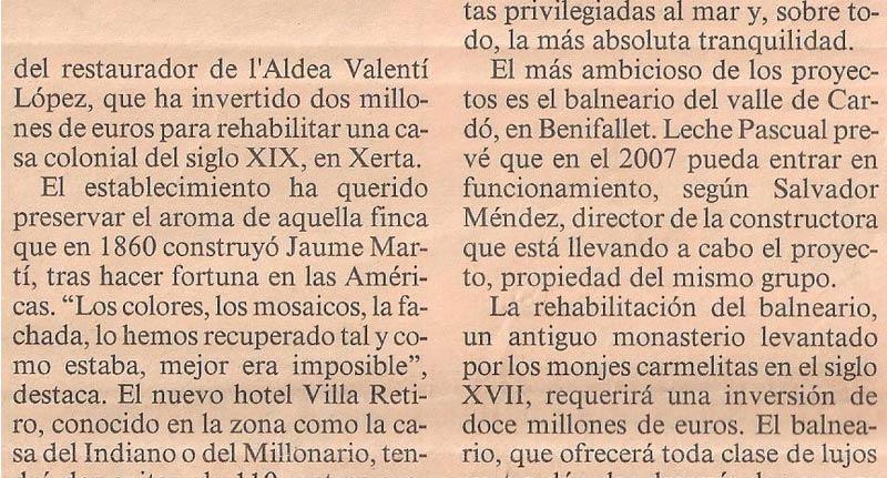 hotel villa retiro valentí lópez aldea invierte 2 millones de euros.