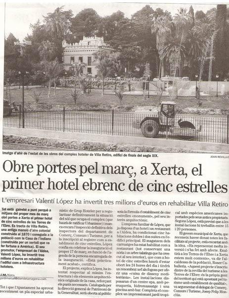 hotel villa retiro xerta primer hotel de 5 estrelles
