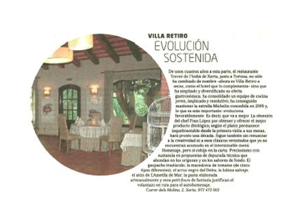 Restaurante Villa Retiro evolución sostenida el mundo