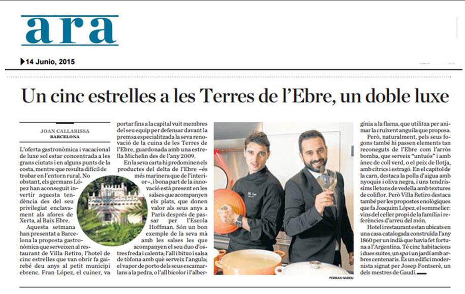 restaurante villa retiro un cinc estrelles a les terres del ebre doble luxe