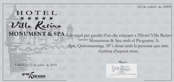 Hotel Villa Retiro Xerta Ebre cheque regalo